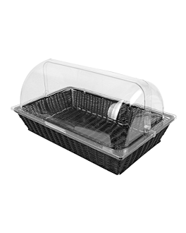 basket imitation wicker with cover gn 1/1  black pp (1 unit)