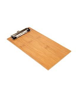 tabla porta menÚ con clip 13x24,5x0,4 cm bambÚ (1 unid.)