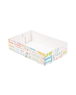 carrying trays without compartments 'parole' 450 gsm 25,5x16x6,5 cm white cardboard (300 unit)