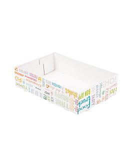 bandejas transporte sem compartimentos 'parole' 450 g/m2 25,5x16x6,5 cm branco cartolina (300 unidade)