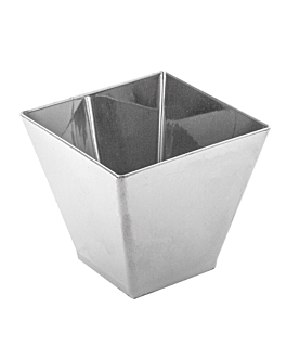 "containers for appetisers ""sliced pyramid"" big 130 ml 7x7x5,5 cm silver ps (500 unit)"