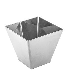 """mise en bouche """"pyramide tronquÉe"""" grand 130 ml 7x7x5,5 cm argente ps (500 unitÉ)"""