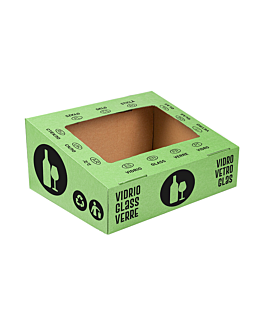 tapa vidrio 38,4x31,1x12 cm verde cartÓn (10 unid.)