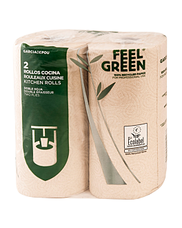 2 u. kitchen rolls 2 ply 'feel green' 23 gsm 24,5 cm x 30 m natural recycled paper (1 unit)
