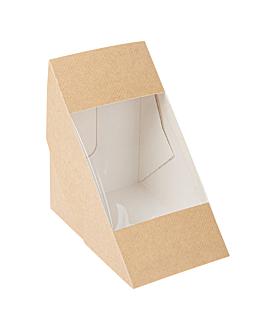 scatole per panini con finestra - triplo 'thepack' 220 g/m2 + opp 12,4x12,4x8,3 cm naturale cartone ondulato a nano-micro (500 unitÀ)