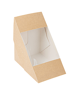 sandwich boxes w/window - triple 'thepack' 220 gsm + opp 12,4x12,4x8,3 cm natural nano-micro corrugated cardboard (500 unit)
