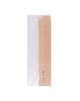 sandwich bags with eco window 'corner window' 40 gsm 9+5,5x26 cm natural kraft (250 unit)