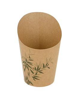 open cups chips 'feel green' 9 oz - 270 ml 200 + 25pe gsm Ø7x10,5 cm brown cardboard (100 unit)