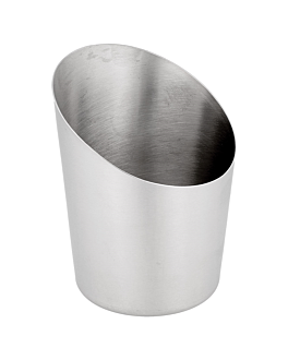 truncated mini tubs for fries, smooth Ø 8,5x8,5 cm silver stainless steel (12 unit)