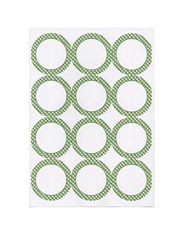 100 hojas din a4 12 etiquetas redondas Ø 6,4 cm blanco papel (1 unid.)