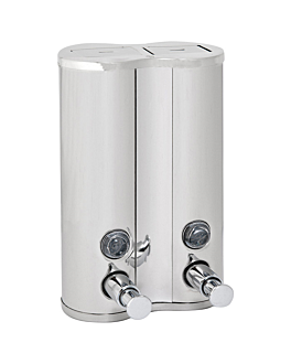 gel & shampoo luxe dispenser 2x400 ml 13x6,5x20 cm silver stainless steel (1 unit)