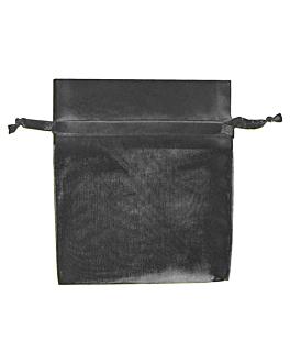 48 u. bolsas organdy con cierre 12,5x11 cm negro microfibra (1 unid.)
