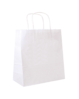 sos bags with handles 90 gsm 32+16x31 cm white cellulose (250 unit)