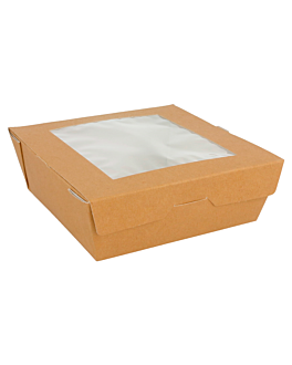 salad boxes with window 300 gsm 12,5x12,5x5 cm brown cardboard (50 unit)