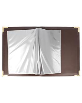 porte menu din-a5 multimenu 19x24,5 cm marron pvc (1 unitÉ)