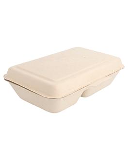 caixas 2 compart. 'bionic' 1 l 16,5x22,5x6,4 cm natural bagaÇo (500 unidade)