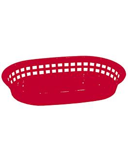 corbeille allongÉe 28x17,5x4 cm rouge pp (12 unitÉ)