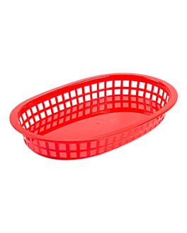 cestino allungato 28x17,5x4 cm rosso pp (12 unitÀ)