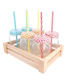 set 6 pichets+paille avec boÎte 530 ml Ø 8,8x13,3 cm transparent verre (6 unitÉ)