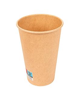 vasos bebidas calientes 1 pared 480 ml 300 + 18 pe g/m2 Ø9/6x13,2 cm marrÓn cartoncillo (1000 unid.)