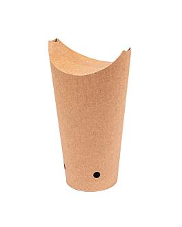 vasos fritas con cierre 22 oz - 660 ml 200 + 25pe g/m2 8,5x18 cm marrÓn cartoncillo (1000 unid.)