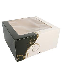 boÎtes pÂtisseries avec fenÊtre 300 g/m2 24x24x12 cm blanc carton (50 unitÉ)