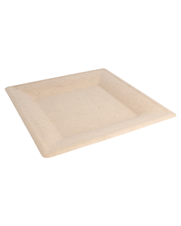 square plates 'bionic' 26,2x26,2x1,4 cm natural bagasse (500 unit)