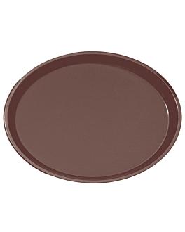 bandeja anti deslizante oval 67x55,5 cm castanho pp (1 unidade)