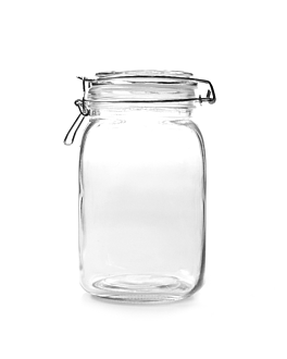 storage jar + clip lid 1,5 l Ø 10,5x19,5 cm clear glass (12 unit)