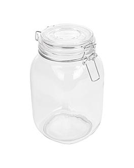 storage jar + clip lid 1,5 l Ø 10,5x19,5 cm clear glass (12 unit)