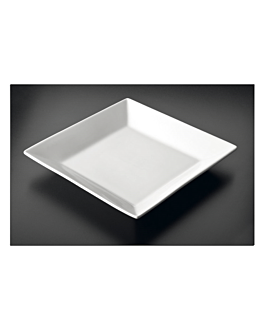 platos cuadrados 30x30 cm blanco porcelana (6 unid.)