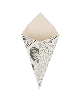 cornets frites 'times' 100 g 250 g/m2 12,5x22 cm blanc carton (1600 unitÉ)