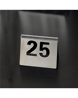 tabletop numbers from 1 to 25 7,5x5,5 cm silver stainless steel (1 unit)