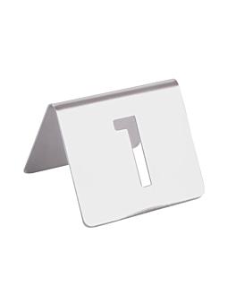 nÚmeros para mesa del 1 al 25 7,5x5,5 cm plateado inox (1 unid.)