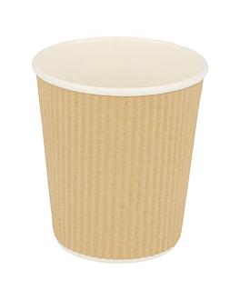 hot drink cups double wall, corrugated 180 ml 260 + 250 + 18 pe g/m2 Ø7,2/5,3x7,8 cm brown cardboard (1000 unit)