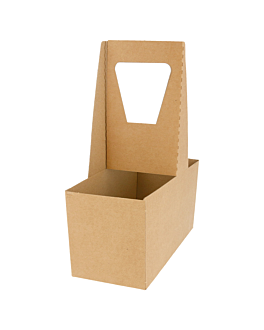 cup carriers, 2 cups 18x8x24 cm natural kraft (200 unit)