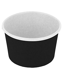 ice-cream tubs 120 ml 210 + 18pe gsm Ø 7,7x4,7 cm black cardboard (2000 unit)
