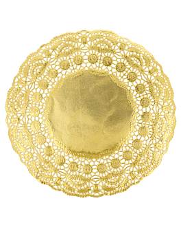 rundes zierdeckchen metallisiert 40 g/m2 + 20 g/m2 Ø 24 cm goldfarben lithographie metallisiert (100 einheit)
