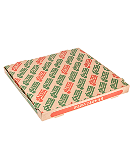 corrugated eco-friendly pizza boxes 350 gsm 40x40x3,5 cm natural cardboard (100 unit)