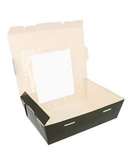 rectangular boxes with frontal window 1350 ml 300 gsm 15,3x12,1x6,4 cm black cardboard (300 unit)