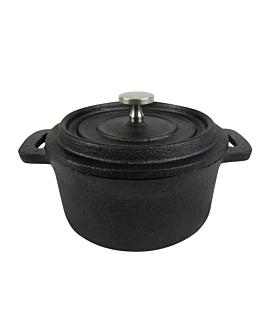 round cocotte with lid Ø 14(19,4)x6 cm black iron (12 unit)