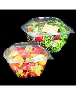 ensaladeras con tapa bisagra 375 ml Ø 12x7,7 cm transparente rpet (600 unid.)