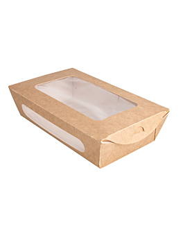 salad boxes with window 900 ml 391 gsm + pe 20x12x5 cm brown cardboard (200 unit)