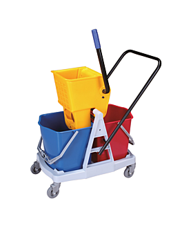 mop bucket + 2 pressure wringer 15 l 62x40,5x86 cm assorted pehd (2 unit)