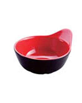 bols ovales noir/rouge 12,4x10,7x6 cm melanine (192 unitÉ)