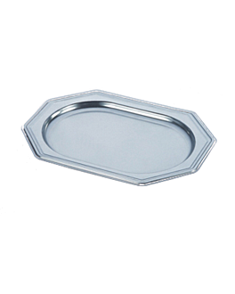 octogonal deluxe trays 24,5x34,5 cm silver pet (5 unit)