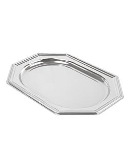 octogonal deluxe trays 24,5x34,5 cm silver pet (5 unit)