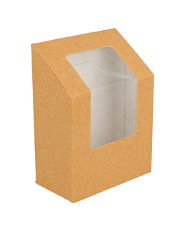 """cajas para """"tortilla"""" con ventana 300 g/m2 9,2x5,1x9,2/12,5 cm marrÓn cartoncillo (100 unid.)"""
