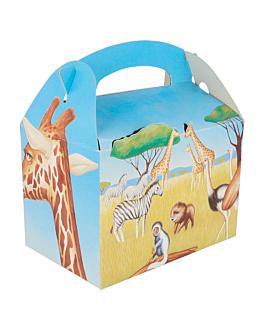 "party boxes ""savanna"" 320 gsm 17x16x10 cm four coloured cardboard (300 unit)"