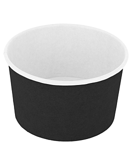 ice-cream tubs 240 ml 250 + 18pe gsm Ø 9,4x5,5 cm black cardboard (2000 unit)